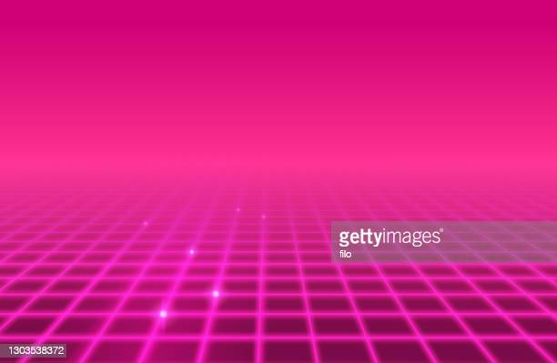 pink grid retro abstract background - 1980 stock illustrations
