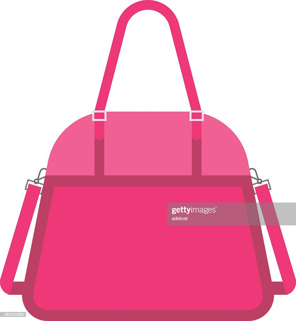 Pink handbag fashion woman vector.
