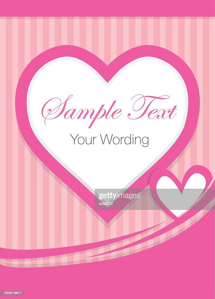 Pink Heart Shape Greeting Card : Vector Art