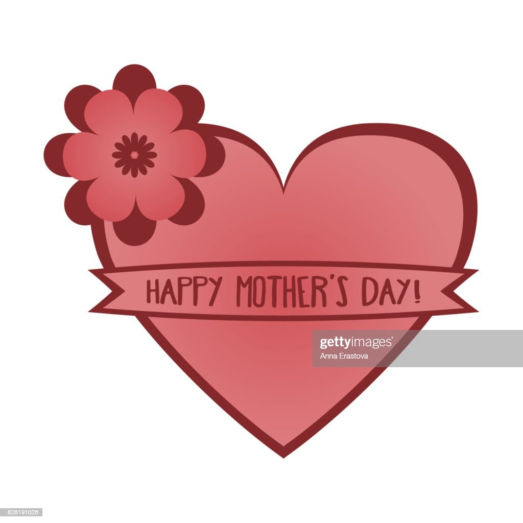 Pink heart with a flower and a ribbon with the words happy mothers pink heart with a flower and a ribbon with the words happy mothers day card m4hsunfo