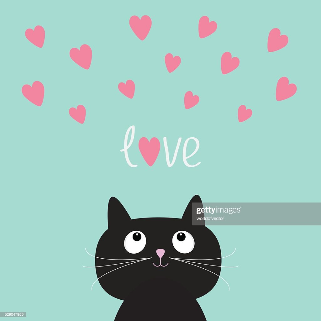 Pink hearts and cute cartoon cat. Flat design style.