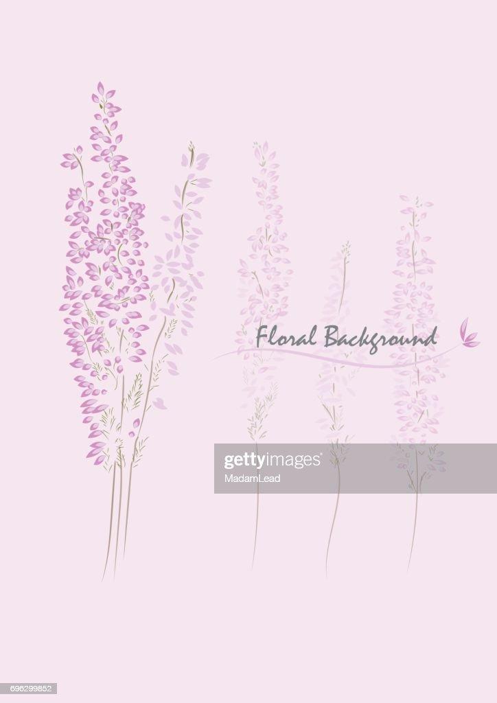 pink heather flower vector background