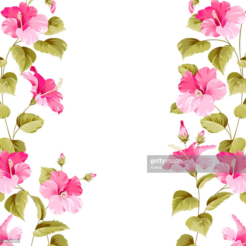 A pink hibiscus flower pattern as a border