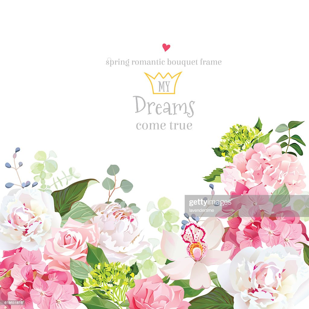 Pink hydrangea, rose, peony, orchid, carnation vector design card.