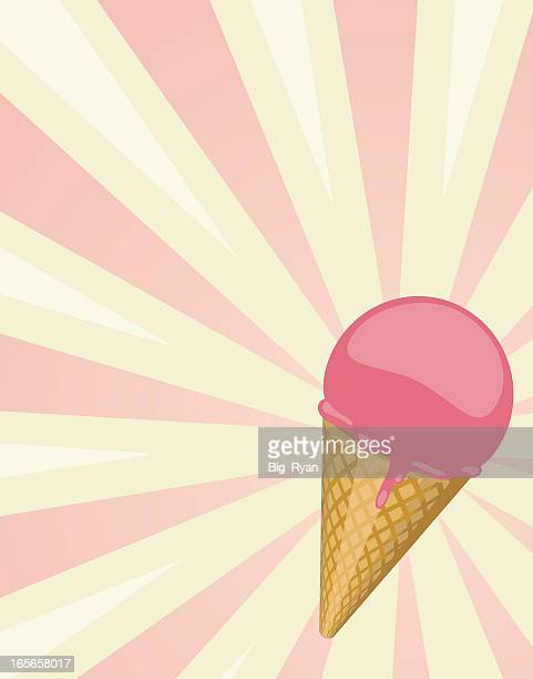 Pink ice cream on a pink and white background