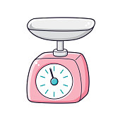 Pink kitchen scales vector.