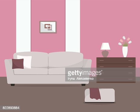 Pink Living Room With A Gray Sofa And Armchair Vector Art   Getty Images