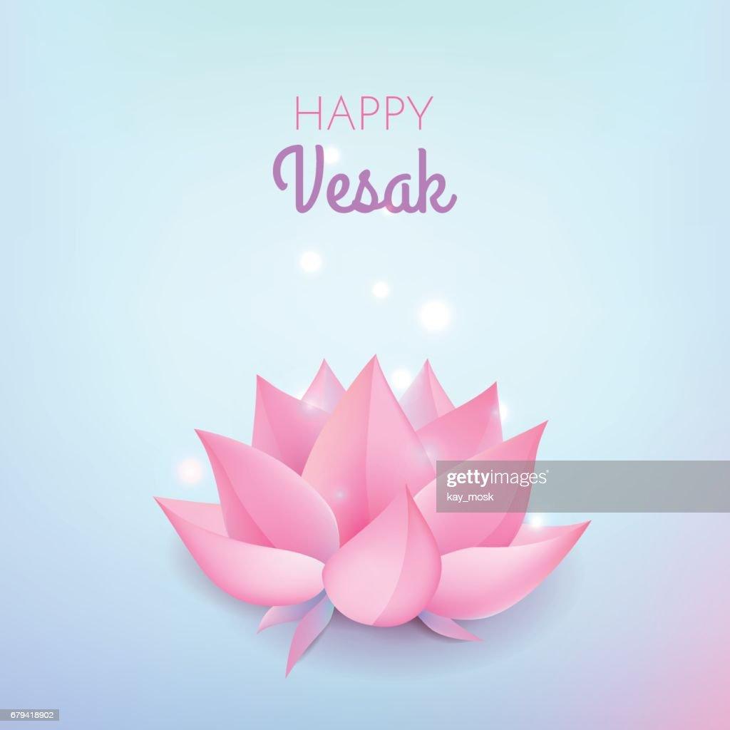 Pink Lotus Flower On Pastel Blue Background Vector Illustration Card