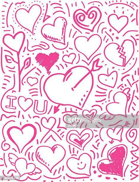 illustrations, cliparts, dessins animés et icônes de amour coeur saint-valentin rose et crayonnages - cupidon and saint valentin