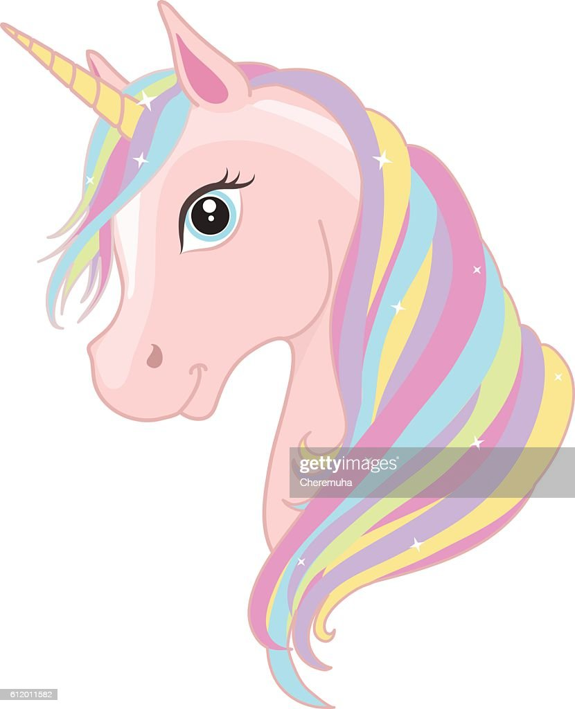 Pink magic unicorn head with rainbow mane. Vector illustration.
