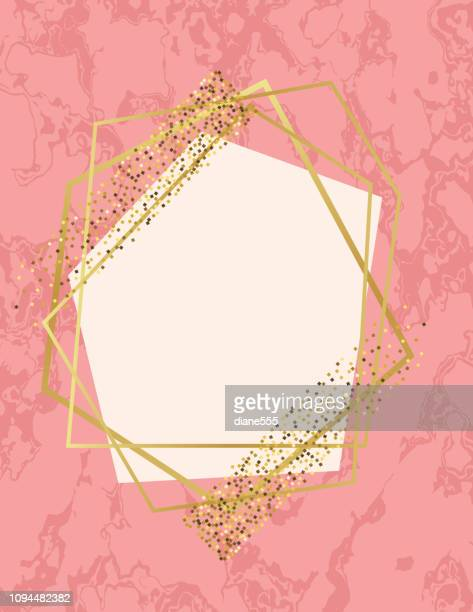 pink marble background with gold deco geometric frames - femininity stock illustrations