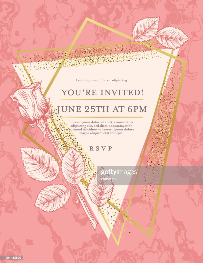 Pink Marble Background With Roses And Gold Deco Geometric Frames High Res Vector Graphic Getty Images