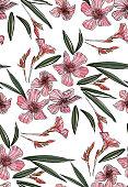 Pink oleander seamless pattern. Botanical illustration hand drawn. Vector floral design for fashion prints, scrapbook, wrapping paper.