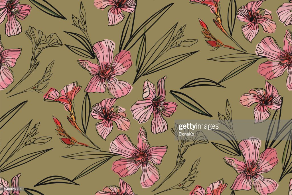 Pink oleander seamless pattern. Botanical illustration hand drawn. Vector floral design for fashion prints, scrapbook, wrapping paper.