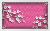 Pink oriental pattern background with sakura flowers and frame