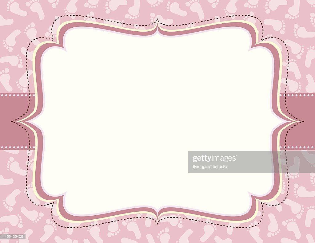 Pink Ornate Frame with Footprints