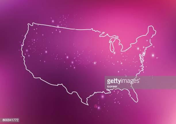 USA der rosa Umriß auf spacigen Hintergrund