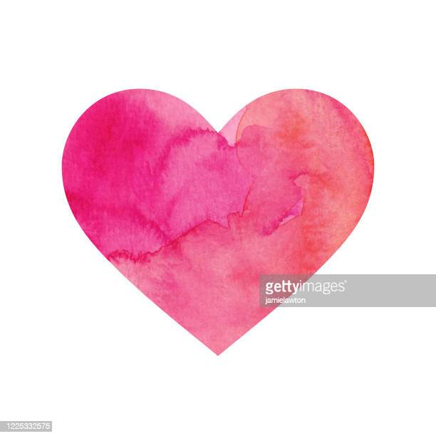 pink painted watercolour heart isolated on a white background - mothers day text art stock illustrations