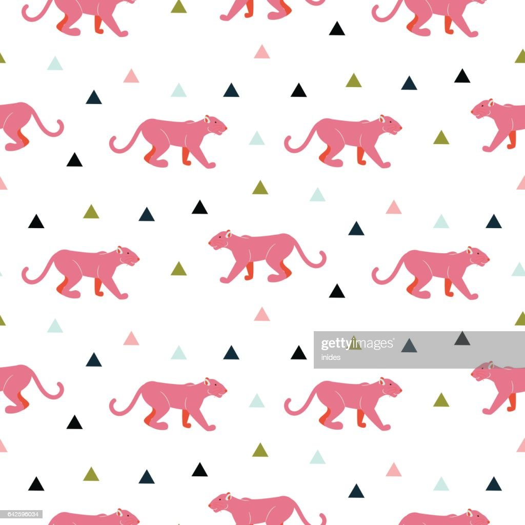 Pink panther animal seamless vector pattern