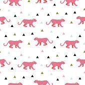 Pink panther animal seamless vector pattern