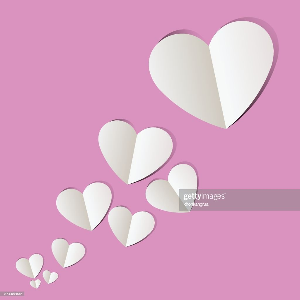 Pink paper cut heart love many Valentine's Day.Vector holiday illustration.
