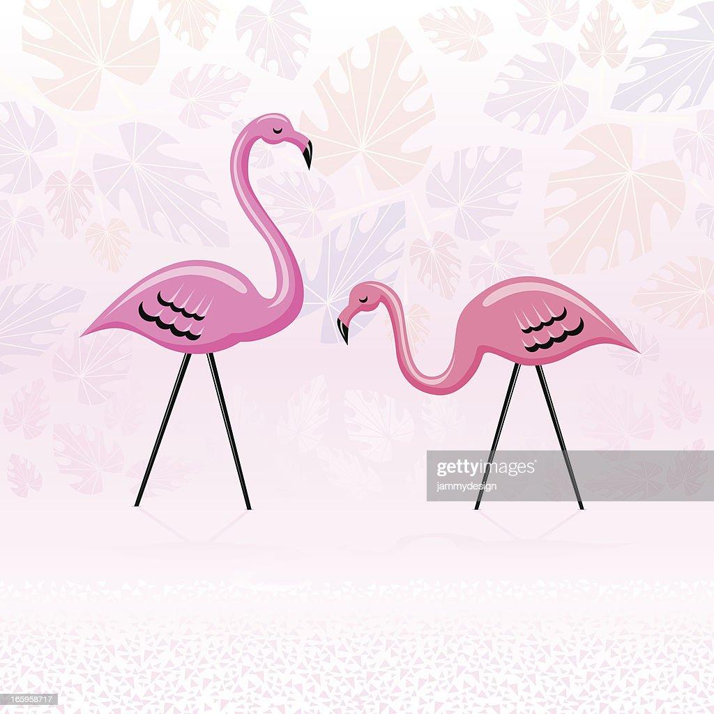 Pink Paradise Flamingos : stock illustration