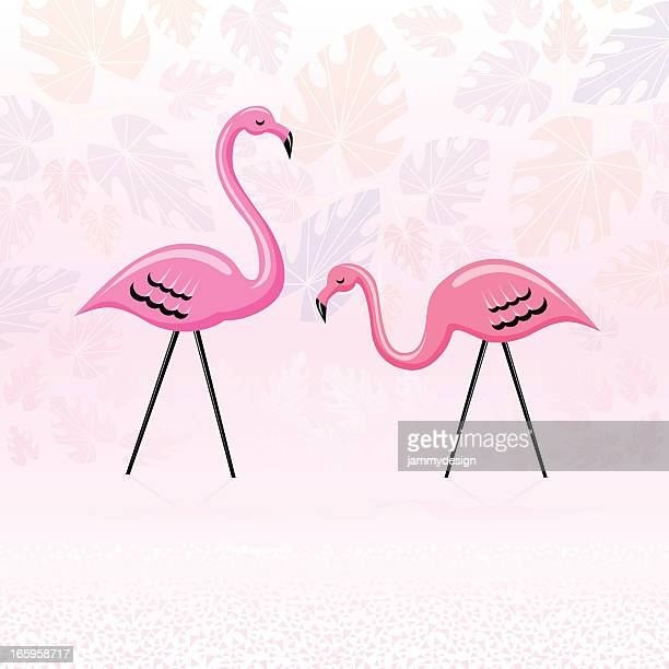 pink paradise flamingos - flamingo stock illustrations, clip art, cartoons, & icons