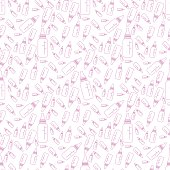 pink pattern of a bottle for a newborn, contours. vector