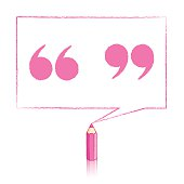 Pink Pencil Drawing Quotation Marks in Rectangular Speech Balloo
