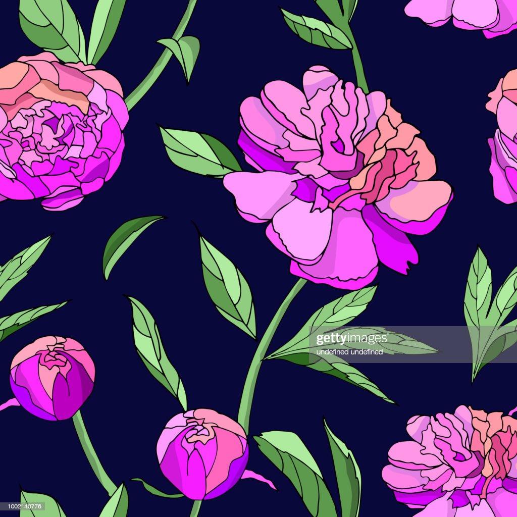 Pink Peony seamless pattern