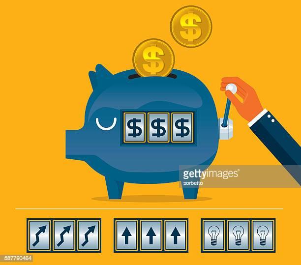 pink piggy bank slot machine - jackpot stock illustrations, clip art, cartoons, & icons