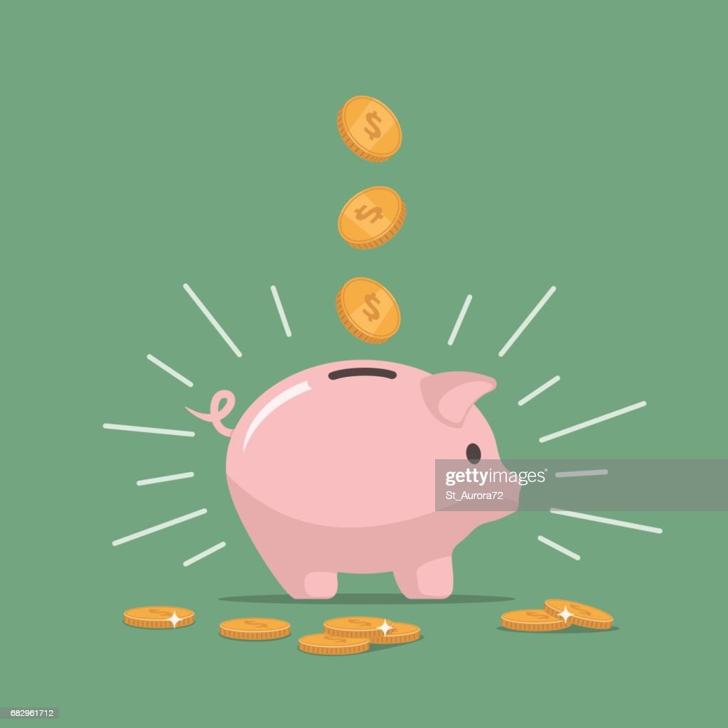 Pink piggy bank with falling coins. Saving money. Investments in future.