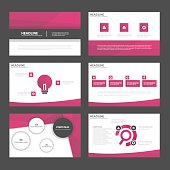 Pink polygon presentation templates Infographic elements flat design