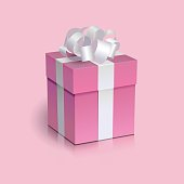 Pink present box with white ribbon bow.