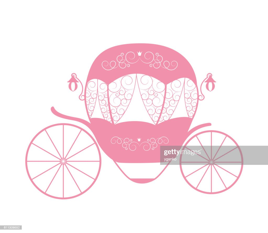 Pink Princess Cinderella Fairytale carriage. Vector Illustration