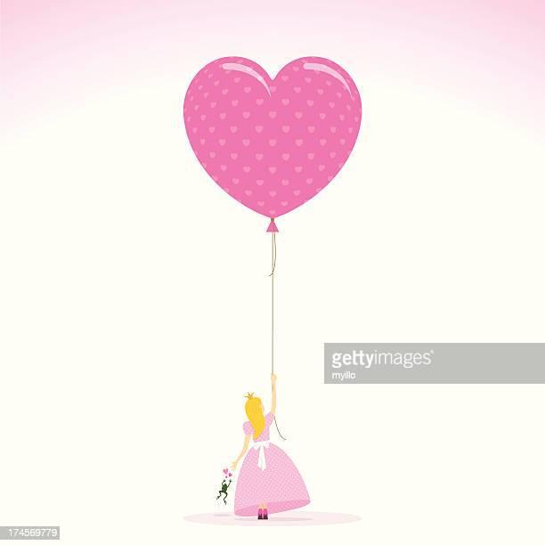 pink princess love toad balloon heart illustration vector - princess stock illustrations, clip art, cartoons, & icons