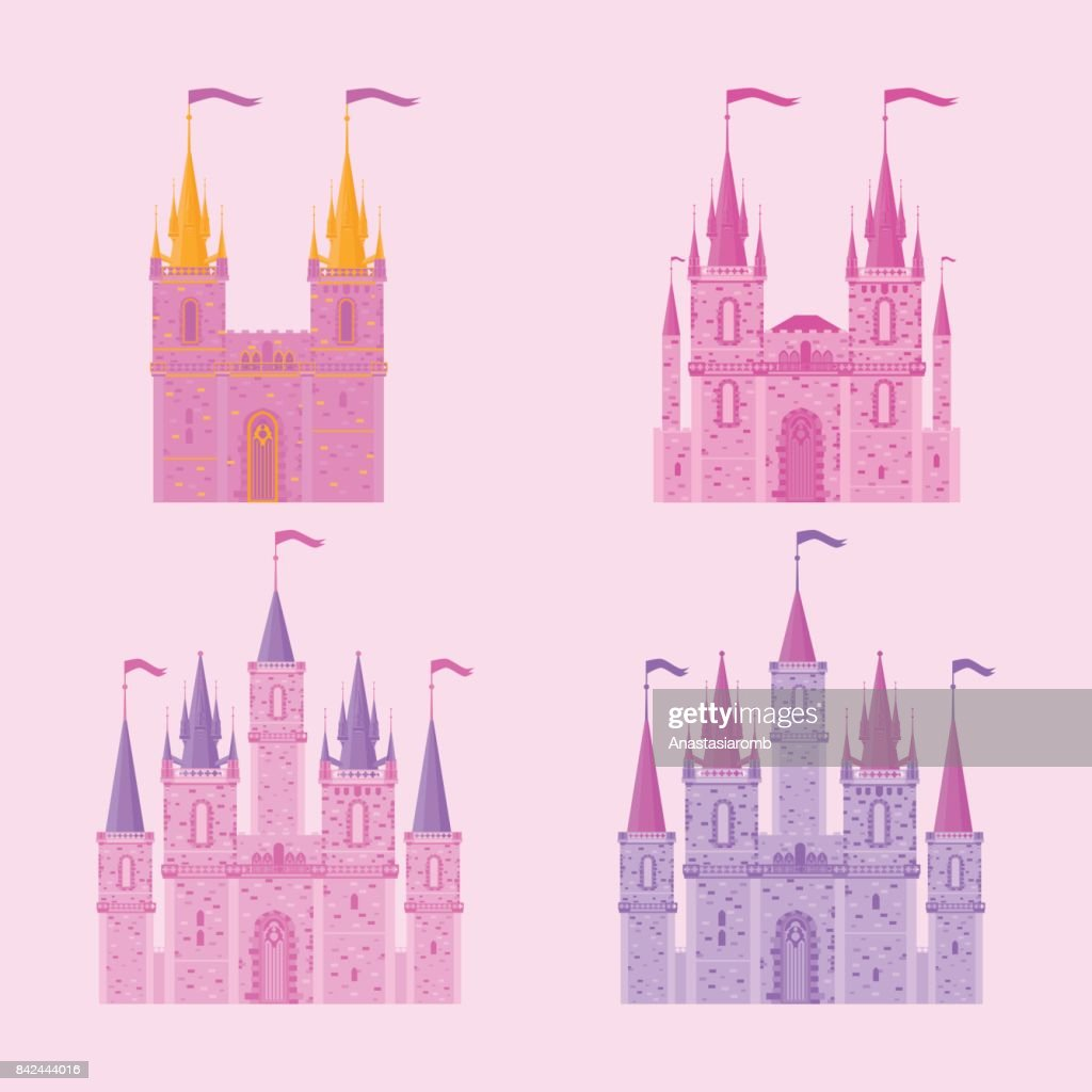 Pink princess magic castle. Flat cute fairytale palace with tower, child medieval kingdom