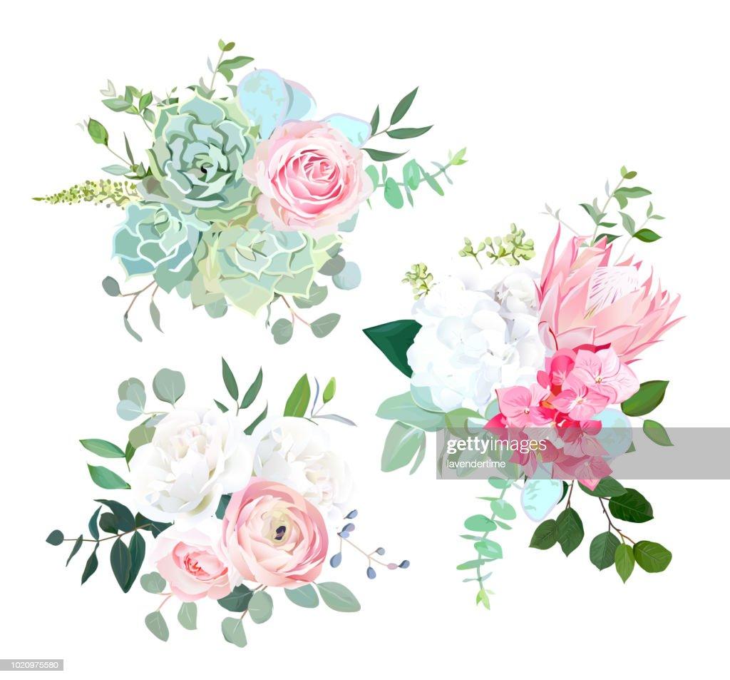 Pink protea, ranunculus, rose, white hydrangea, seeded eucalyptu