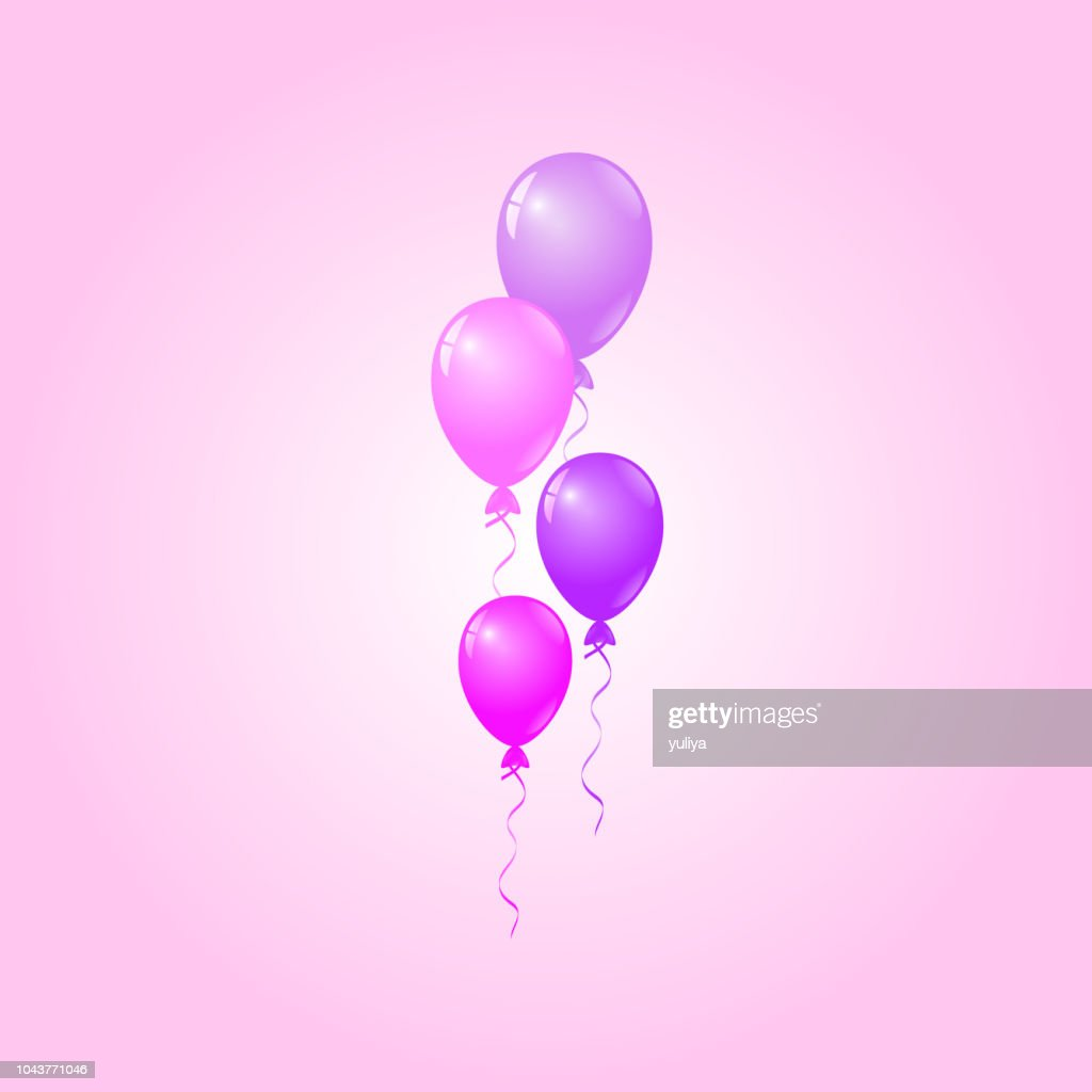 Pink Purple Balloons On Pink Background Birthday Card Party