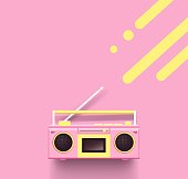Pink radio on pink background.