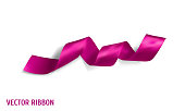 Pink realistic silk vector ribbon