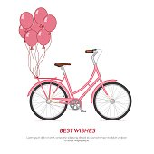 Pink retro bicycle withballoons attached to the trunk Flat vecto