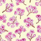 Pink rhododendron blossom seamless pattern. Vector illustration