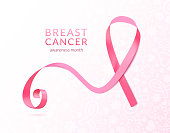 Pink ribbon banner, vector illustration