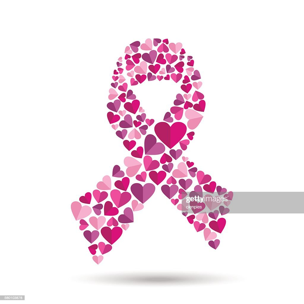 Pink ribbon design with heart for breast cancer