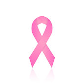Pink ribbon for breast cancer awareness campaigns isolated on white. Vector illustration