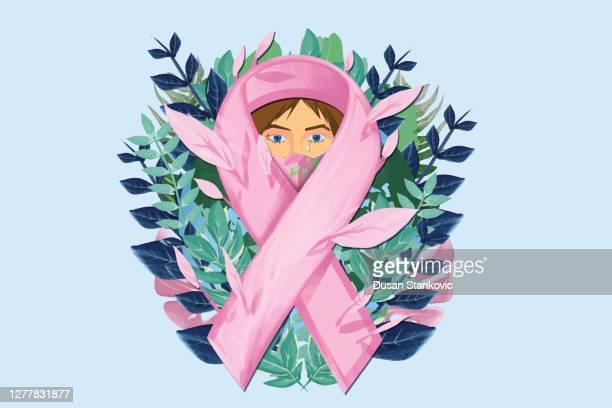 rosa band für brustkrebs bewusstsein illustration auf einem blauen hintergrund mit blumenmotiven - gesellschaftliches symbol stock-grafiken, -clipart, -cartoons und -symbole