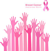 pink ribbon icon, breast cancer awareness, people hands