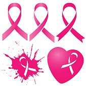 Pink ribbon in five variations