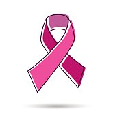 Pink ribbon in line art style for breast cancer